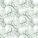 Green curly vines with leaves, seamless pattern Stock Photography