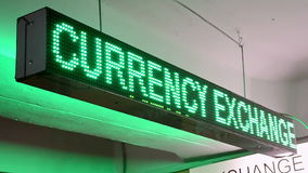 Green currency exchange rate on led display on Ukrainian language, numbers diversity, stock video footage