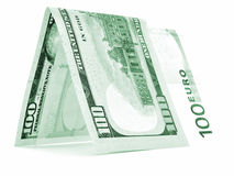 Green currency folded in half, money hut, banknote corner isolated Royalty Free Stock Image
