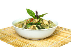 Green curry on bamboo wrap Royalty Free Stock Image