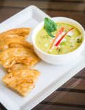 Green curry chicken soup with nan Stock Images