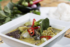 Green curry Chicken soup Stock Images