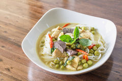 Green curry chicken with thai Rice Noodles, Thai Food Royalty Free Stock Image
