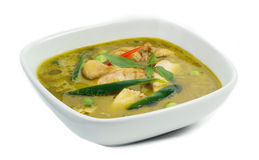 Green curry chicken and vegetable Thai food Stock Photography