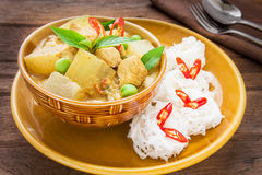 Green curry chicken with wax gourd and noodles, Thai food Stock Images