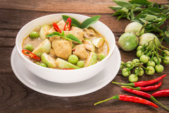 Green curry chicken in white bowl, Thai food Royalty Free Stock Photography