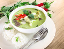 Green curry creamy coconut milk with chicken , Popular Thai food Stock Images