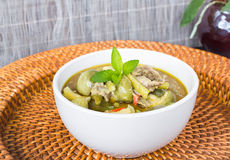 Green curry, famous Thai cuisine. Royalty Free Stock Photos