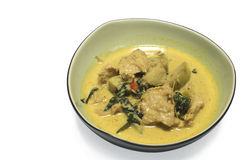 Green curry fish ball in coconut milk. Stock Photography