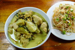 Green curry fish ball with eggplant eat couple with rice vermicelli spicy salad Royalty Free Stock Photo