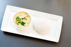 Green Curry with jasmine rice Royalty Free Stock Photo