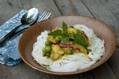 Green Curry with Rice Noodles. Thai green curry with rice noodles Stock Photography