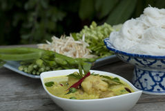 Green Curry and Rice Noodles. A Thai set-meal of chicken green curry and rice noodles Royalty Free Stock Image