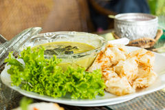 Green curry and roti. Stock Image