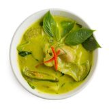 Green curry Shrimp dumplings in coconut milk isolated on white b. Ackground Stock Image