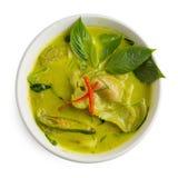 Green Curry Shrimp Dumplings In Coconut Milk Isolated On White B Stock Image