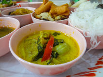 Green curry soup with red chilli stock photos