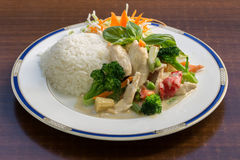Green Curry Stir Fry with Rice Royalty Free Stock Image