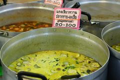 Green Curry. Thai green curry selling in the big pot in the market Stock Photos