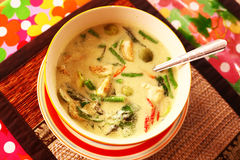 Green curry thai soup with chicken Royalty Free Stock Photos