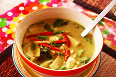 Green curry thai soup with chicken Stock Photography