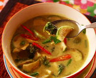 Green curry thai soup with chicken Stock Photos