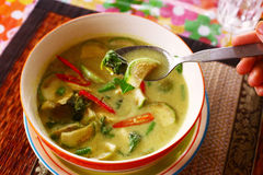 Green curry thai soup with sea food coconut milk Royalty Free Stock Image