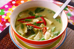 Green curry thai soup with sea food coconut milk Stock Photos