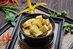 Green curry Tofu  vegetable food. Royalty Free Stock Photos