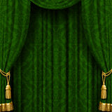 Green curtain. With Baroque ornament. Square indoor background. There is in addition a vector format (EPS 10) with transparent objects vector illustration