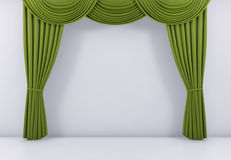 Green curtain or drapes background. 3d render. Green curtain or drapes background scene. 3d rendering vector illustration