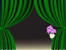 Green curtain with flowers. Vector royalty free illustration