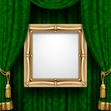 Green curtain with a gold frame. Suspended gold frame on the ornamental green curtain background. Square presentation artistic poster and placard. There is in vector illustration