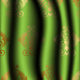 Green curtain with gold pattern Royalty Free Stock Images