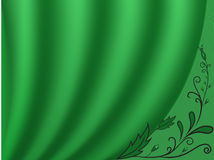 Green curtain with a light background stock illustration