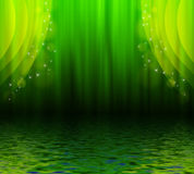 Green curtain reflected in water Stock Image