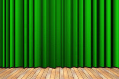 Green curtain stage. Wooden floor stage and a green curtain in the background stock illustration