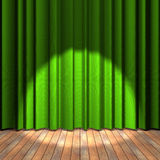Green curtain stage with a spot light. Wooden floor stage and a green curtain in the background royalty free illustration