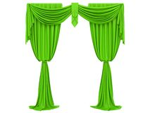 Green curtain of a theater. On a white background 3d rendering royalty free illustration