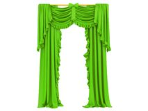 Green curtain of a theater. On a white background 3d rendering stock illustration