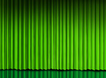 Green curtain on theater stage. Green curtain on theater reflecting stage drapes vector illustration