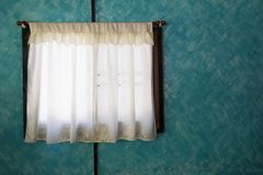 Green curtain on window. Close up green curtain on window royalty free stock photography