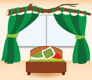 The green curtains in the bedroom. Children's bedroom with green curtains Royalty Free Stock Photos