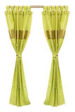Green curtains. With isolated a white background Stock Photography