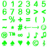 Green curved 3D numbers and symbols Stock Photos
