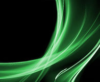 Green Curves. Fractal rendering of green curves on black Stock Image
