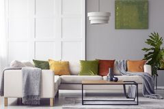 Green cushions and grey blanket on corner sofa in living room interior with lamp above table. Real photo royalty free stock images