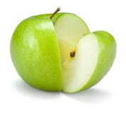 Green cut apple. Isolated on a white Stock Photo