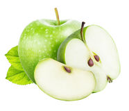 Green cut apple set isolated on a white background Royalty Free Stock Photography