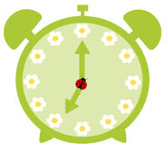 Green cute alarm clock with daisy flower Stock Photo